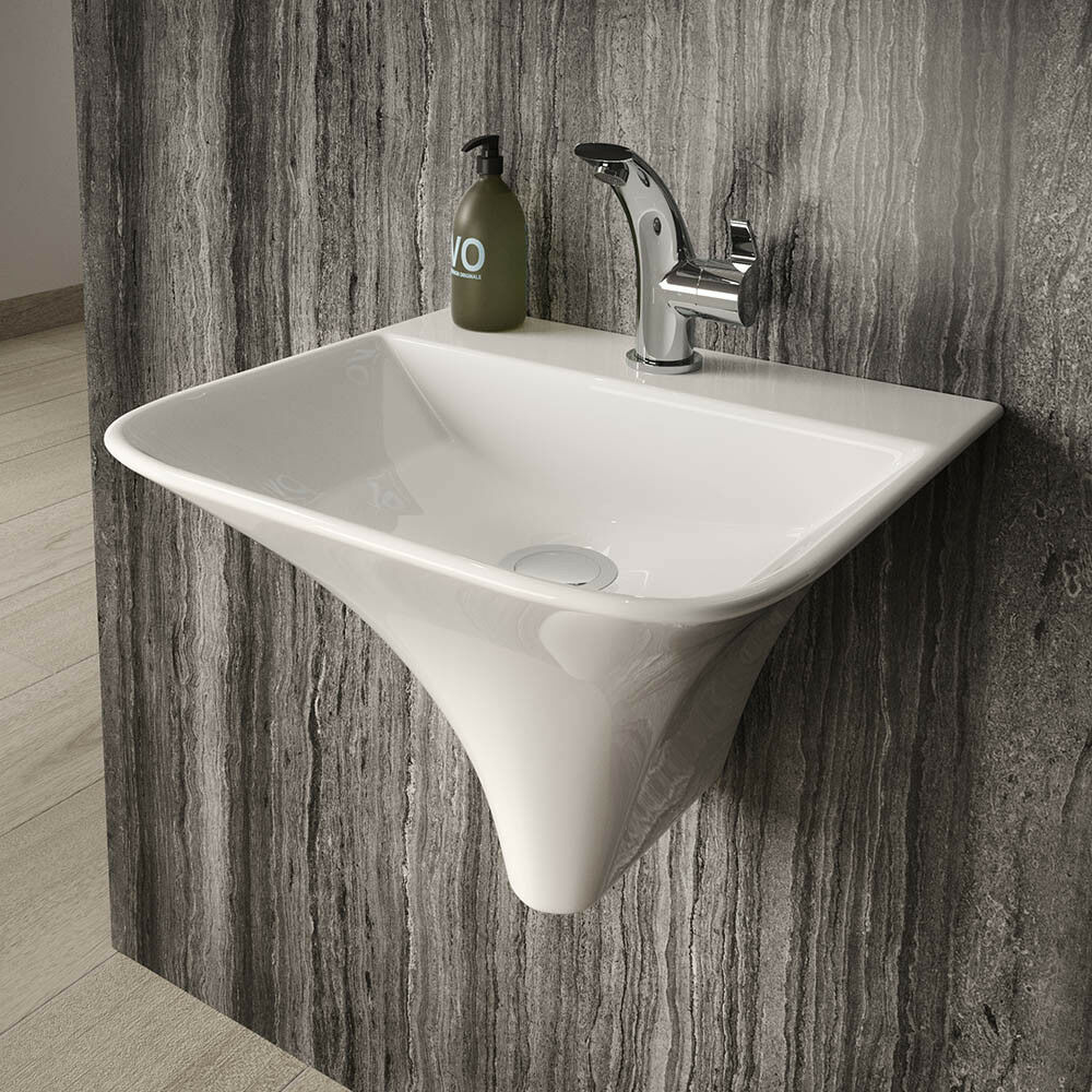 Italian Inspired Sognare Semi Pedestal Basin Wall Hung Bathroom Sink Wash Bowl