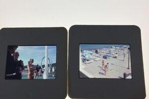 Lot-Of-2-Vintage-1974-Beach-Scene-Girl-Bikini-Vacation-35mm-Color-Slides
