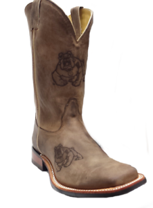Nocona-7MDFS003-Mens-Fresno-State-Brown-Cowhide-Branded-College-Boots-size-9-EE