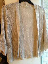 Eileen Fisher Pet. Large Linen Blend Cardigan Knit Sweater 3/4 Sleeve Open Front