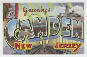 67067-OLD-LARGE-LETTER-POSTCARD-GREETINGS-from-CAMDEN-NEW-JERSEY