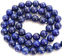 "4/6/8/10/12/14mm Natural Blue Egyptian Lazuli Lapis Gemstone Loose Beads 15""AAA"