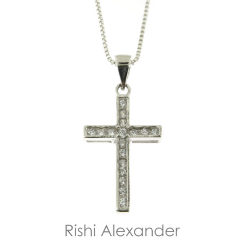925 Sterling Silver CZ Traditional Cross Pendant or Necklace