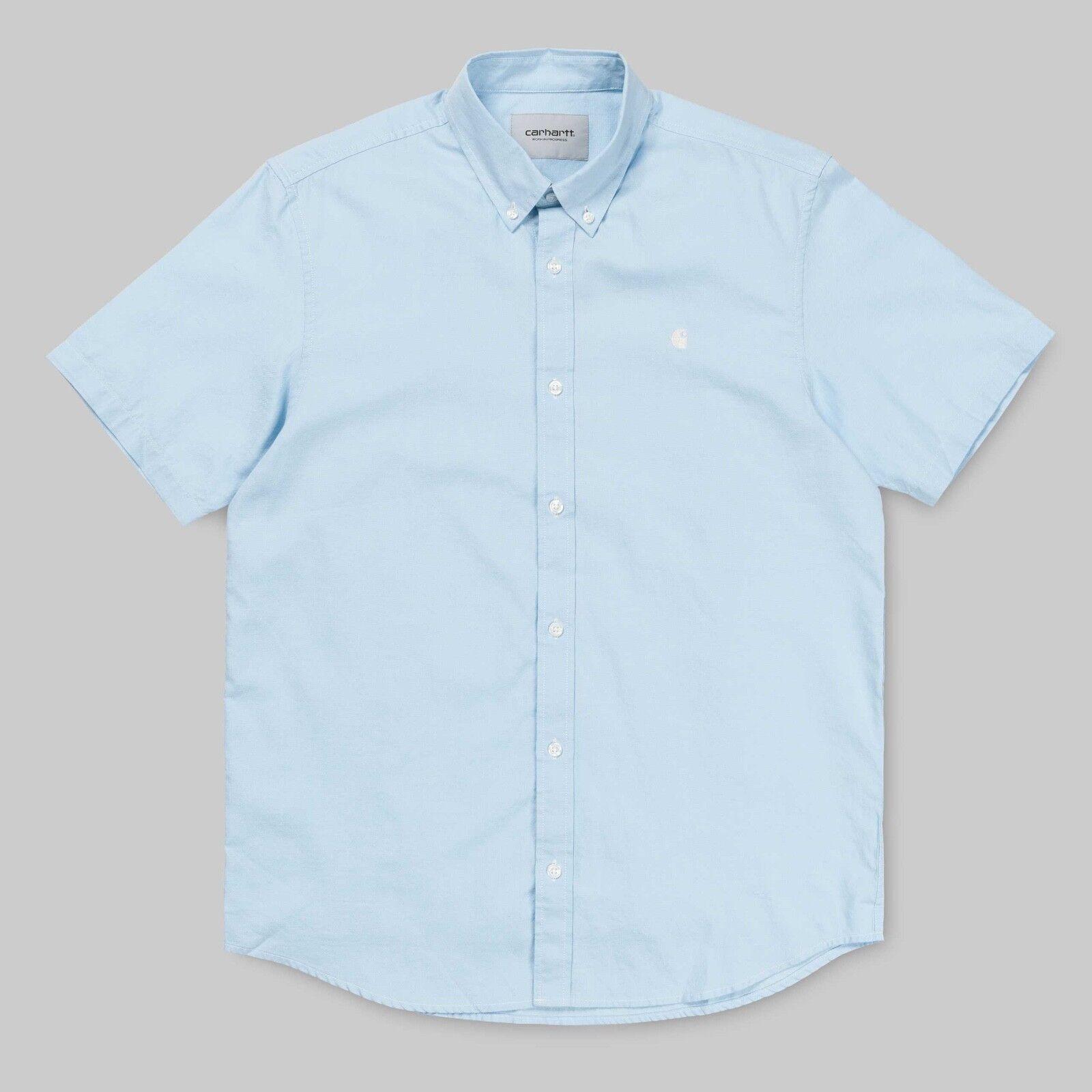 5f966b038 Carhartt WIP S S Lancaster Logo Shirt Shirt Shirt Camicia manica corta uomo  Azzurra button 773280