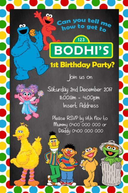 Personalised Birthday Party Invite Invitation Sesame Street