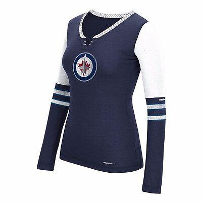 """NHL Reebok """"FACE OFF"""" Tri-Blend Team Henley Long Sleeve Shirt Collection Women's"""