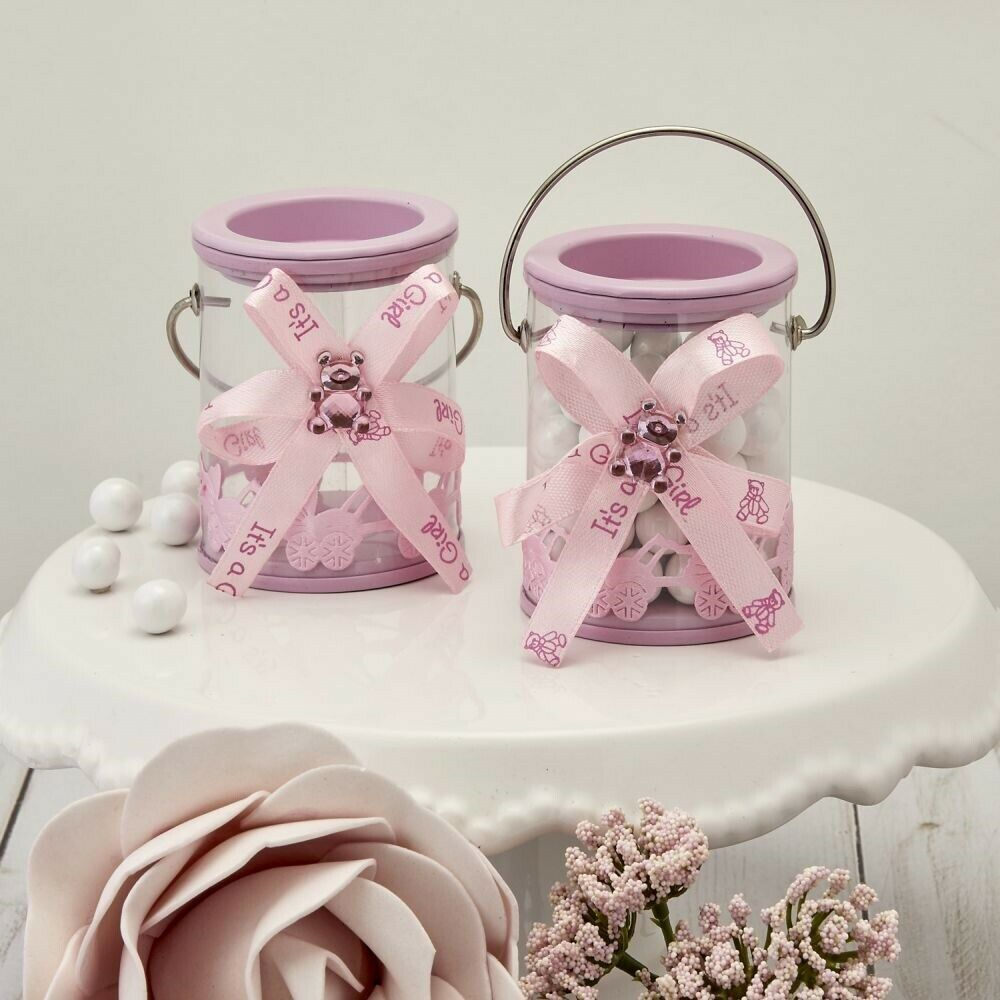 100 It's a Girl rose Candy Box Can With Bow Bear Ribbon   Shower Party Favors