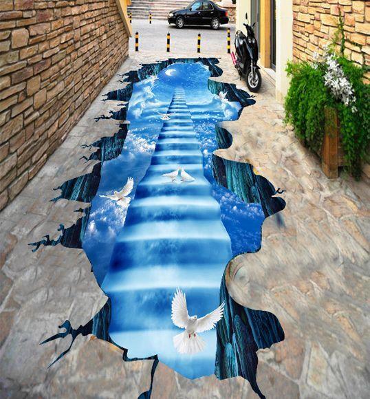 3D Flyover 14 Fond d'écran étage Peint en Autocollant Murale Plafond Chambre Art