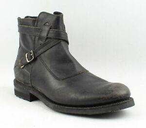 Frye Mens Stone Cross Strap Black Polished Stonewash Ankle