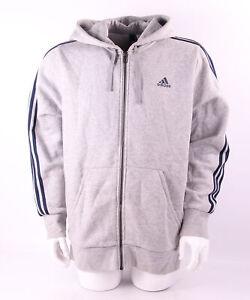 Details zu Adidas Essentials 3 Stripes Hoodie Herren (S98790) hellgrau meliert navy Gr. L