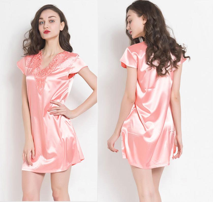 Women Satin Sleepwear Dress V-Neck Short Sleeve Nightgown Lace Sleep ...