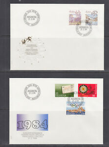 Switzerland-Mi-1308-1330-1986-issues-5-complete-sets-on-5-cacheted-FDCs