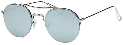 Unisex Trendy Metal Round Flat Mirrored Lens Aviator Style Fashion Sunglasses