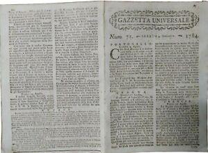 1784-GAZZETTA-UNIVERSALE-TANTE-NOTIZIE-DAL-MONDO-TRATTATI-DI-GUERRA-E-PACE
