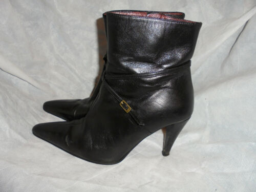Zip Black Up Leather Women's Size 37 Ankle Vgc 4 Frida Uk Boot Eu 4ftZx4