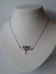 Jugendstil-Pfau-Collier-blaue-Emaille-Opal-Perle-Halskette-Silber-Schmuck-NEU