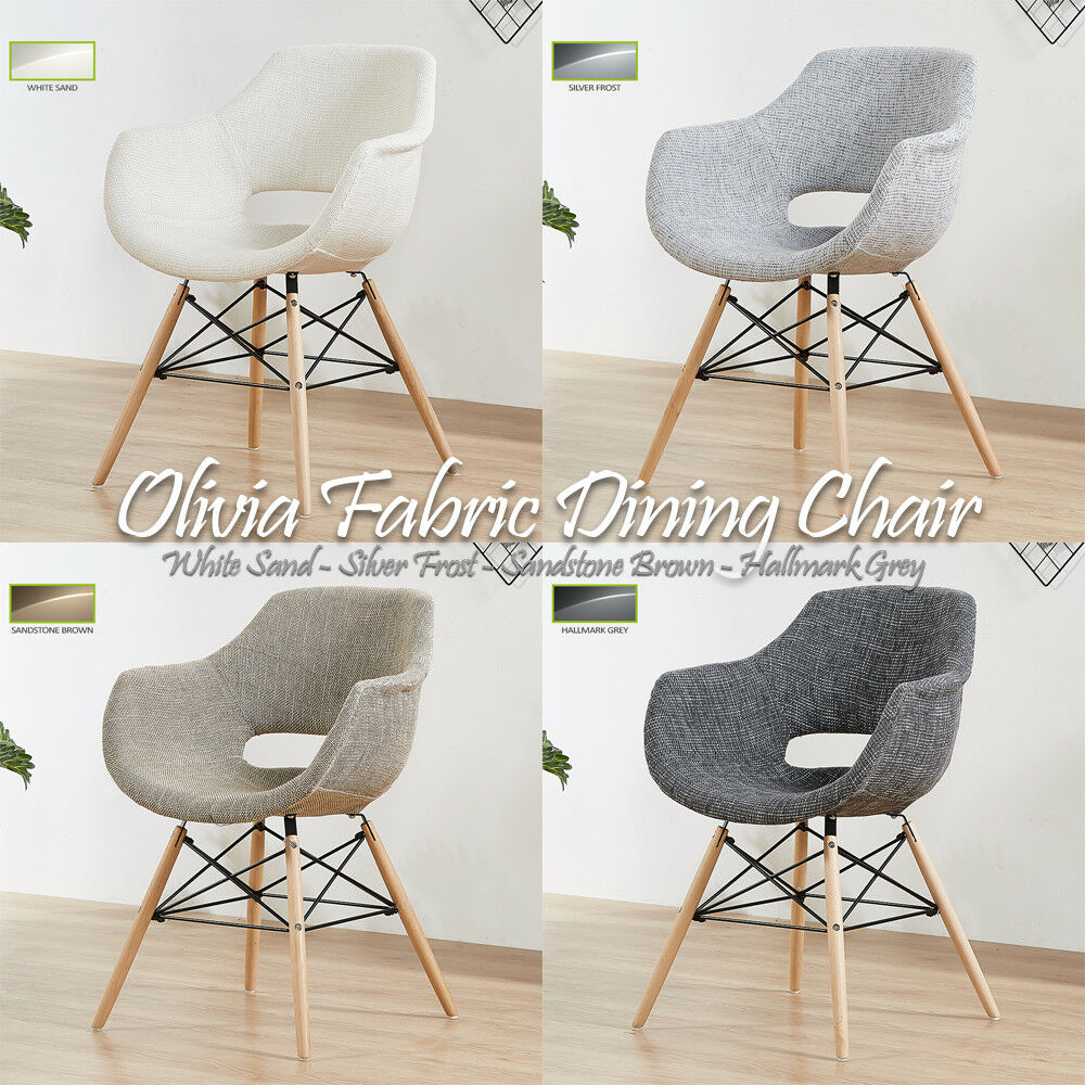 Details about Olivia Eiffel Fabric Armchair Dining Lounge Tub Chair Wooden Legs Scandinavian