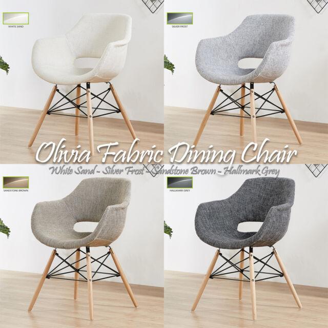 Olivia Eiffel Fabric Armchair Dining Lounge Tub Chair Wooden Legs Scandinavian