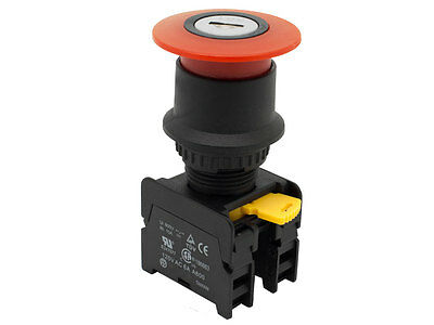 EKS-22 ATI Red 22mm Emergency Stop Push Button Switch Mushroom Key Reset