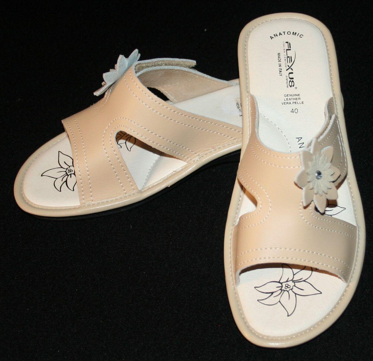 Flexus Sprint Step Slip On Sandals 40   9  Beige Leather Comfort Womens Slides