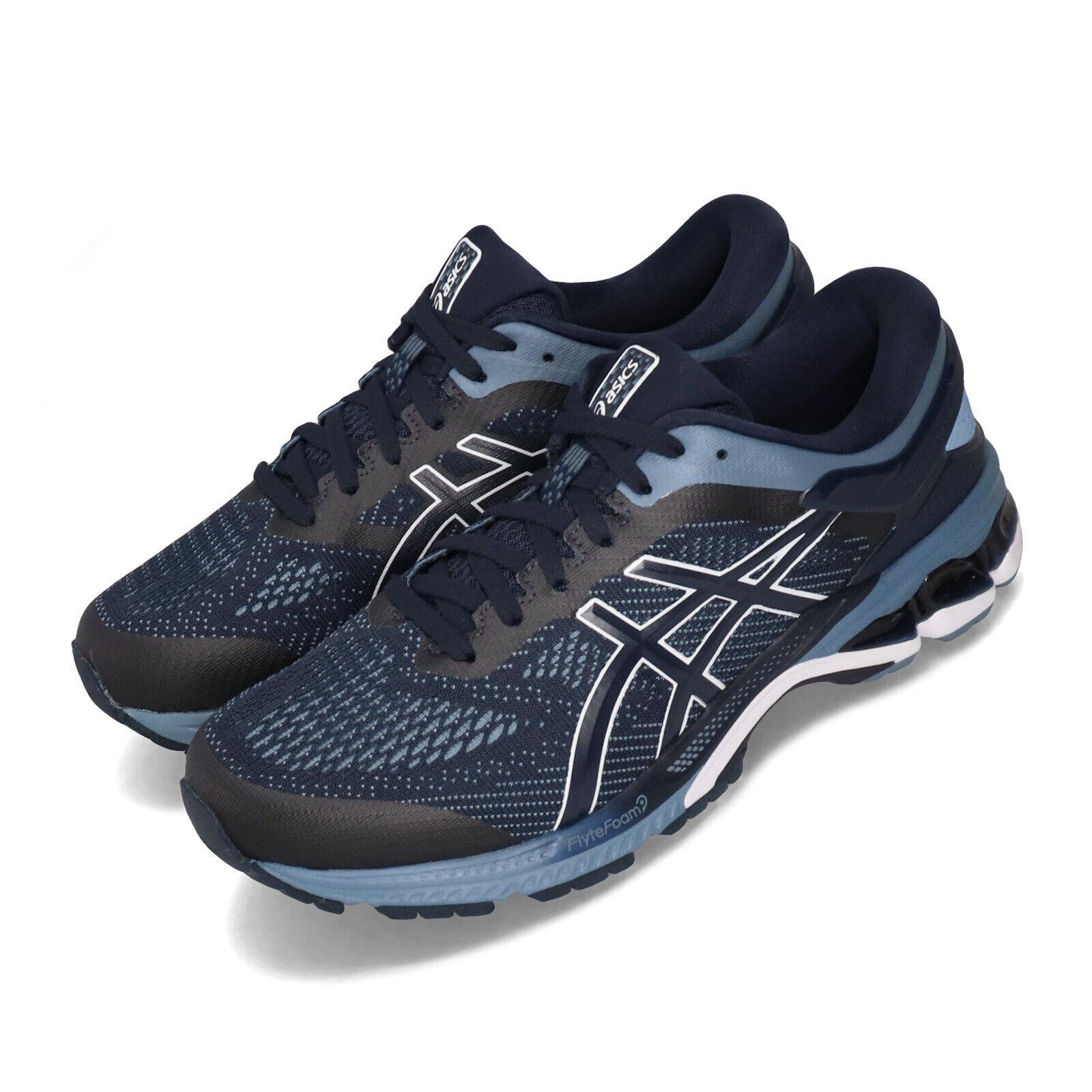 Asics Gel-Kayano 26 2E Ancho Azul de medianoche Hombres Zapatos Tenis Para Correr 1011A542-400