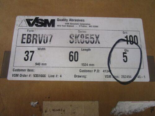"VSM ABRASIVES EBRV07 SK855X 37/""X60/"" WIDE SANDING BELT 100 GRIT LOT OF 5"