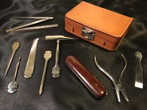 Rare-Original-Vintage-1950-039-s-Abercrombie-amp-Fitch-Tool-Kit-Leather-Case-Germany