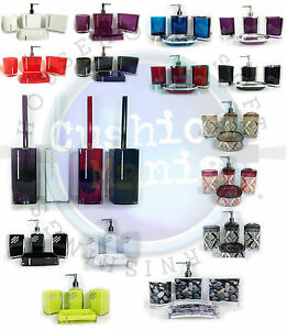 ensemble accessoires salle de bain strass porte savon distributeur verre ebay. Black Bedroom Furniture Sets. Home Design Ideas