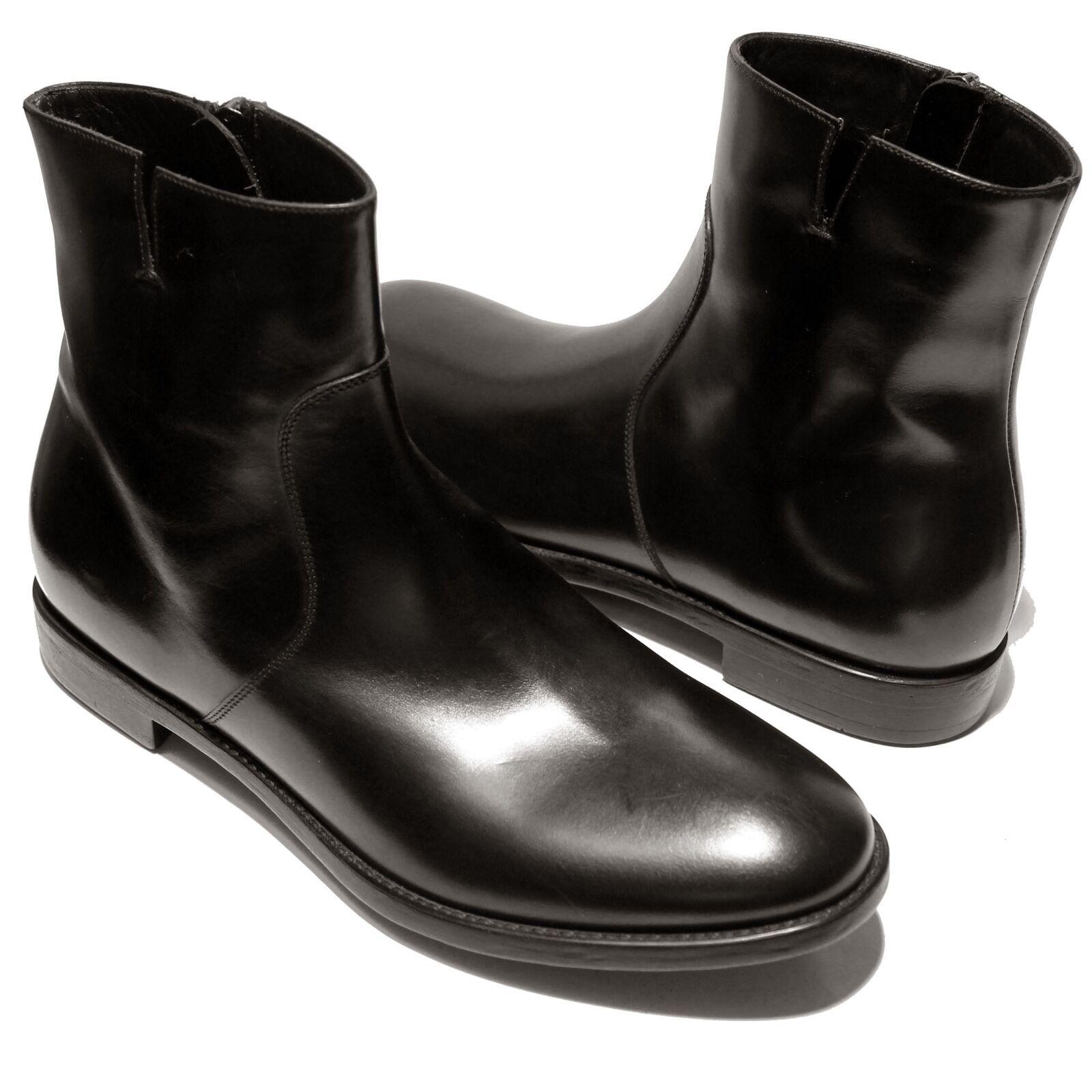 Ferragamo Soffio Robe Noire Cuir Cheville 8 41 Mode Fermeture Bottes Hommes