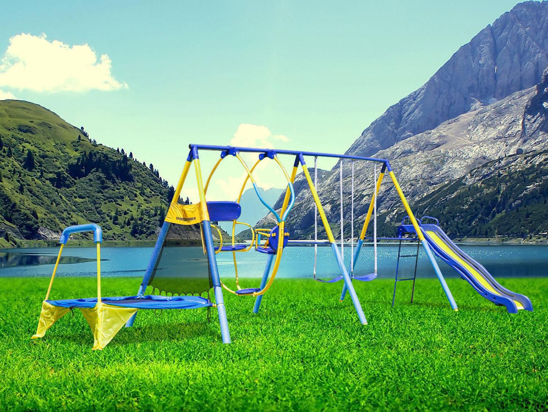 Swing Set Slide Trampoline Playground Backyard Metal Toddler Kids