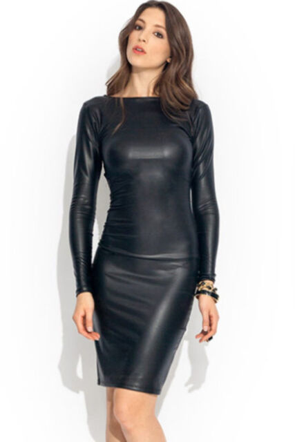 Reversible Faux Leather Midi party dress Sexy women evening clubwear bodycon new