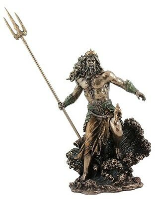 Veronese Bronze Figurine Greek God of the Sea Poseidon Gift Home Decor Mythology