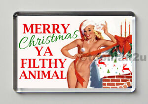 New, Quality Fridge Magnet, Merry Christmas Ya Filthy Animal - Sexy Gift Idea