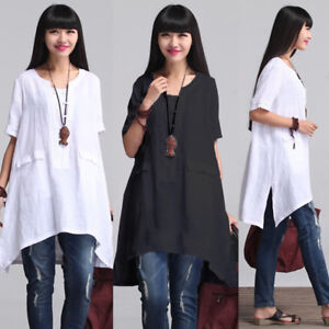 Women-Summer-Short-Sleeve-Irregular-Cotton-Tops-T-shirt-Blouse-Plus-Size