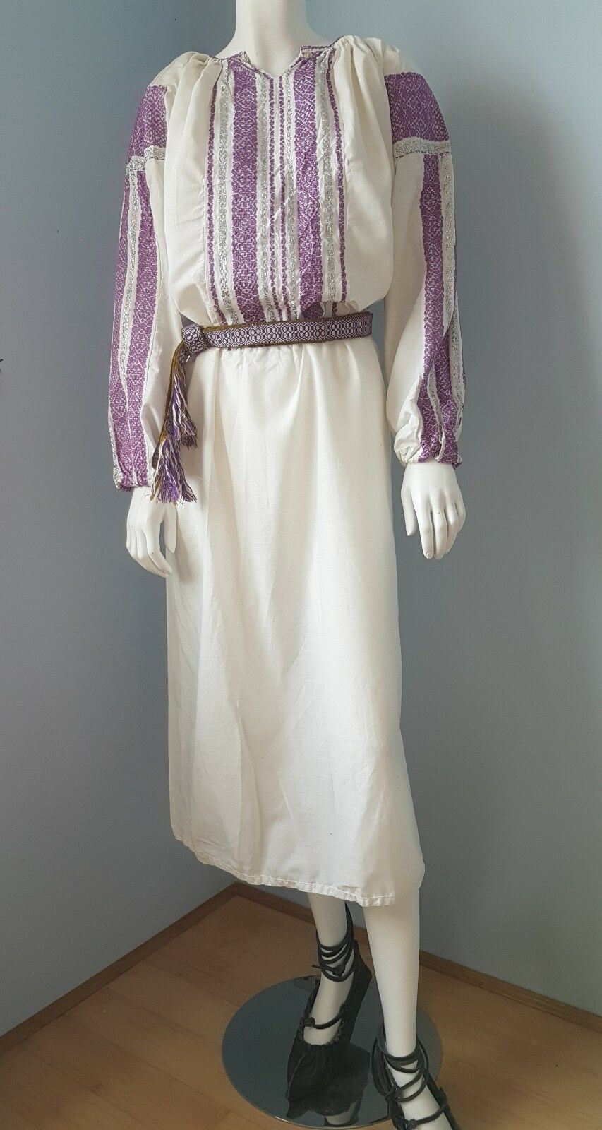Vintage hand embroidered Romanian outfit + belt