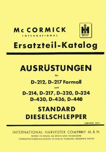Ersatzteilkatalog Ausrüstung  D-320 D-322 D-324 D-326 Mc Cormick IHC D-Serie