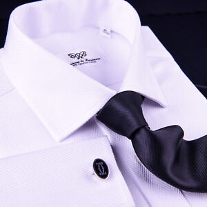 White-Herringbone-Twill-Dress-Shirt-Business-Formal-French-or-Button-Cuff-Style