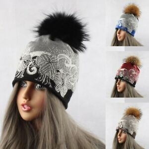 ced353304dd Hat Women Knitted Casual Mink Raccoon Fur Pompom Ball Beanie Crochet ...