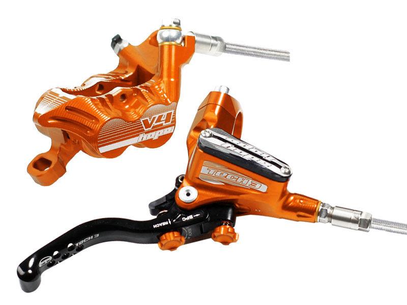 Hope Tech 3 V4 orange Left   Front with Braided Hose Brake - Brand New