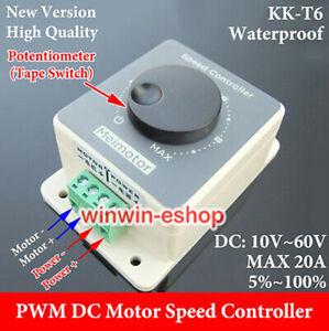 Waterproof DC 10-60V 12V 24V 36V 48V 20A PWM DC Motor Speed Controller Regulator