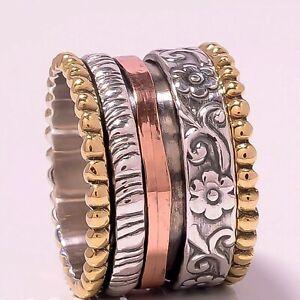 Solid-925-Sterling-Silver-Spinner-Ring-Meditation-Statement-Ring-Size-V1056
