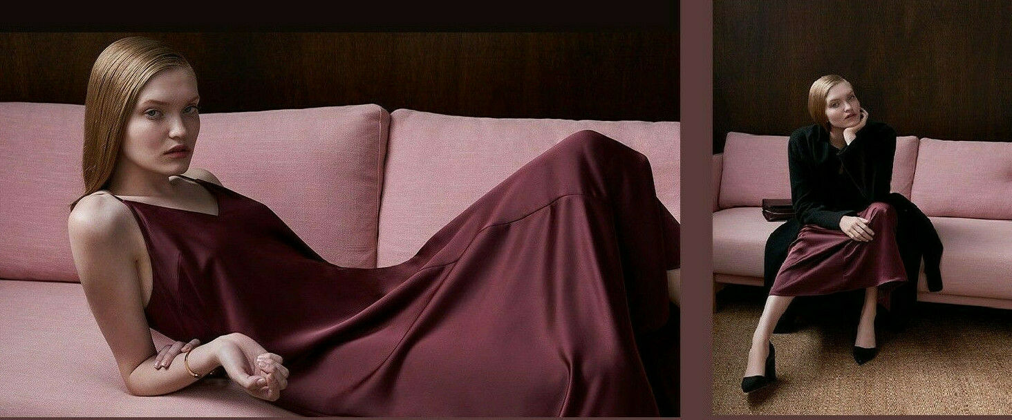 NWT  199 Designer COUNTRY ROAD Satin Slip DRESS   10 12  14  French Burgundy