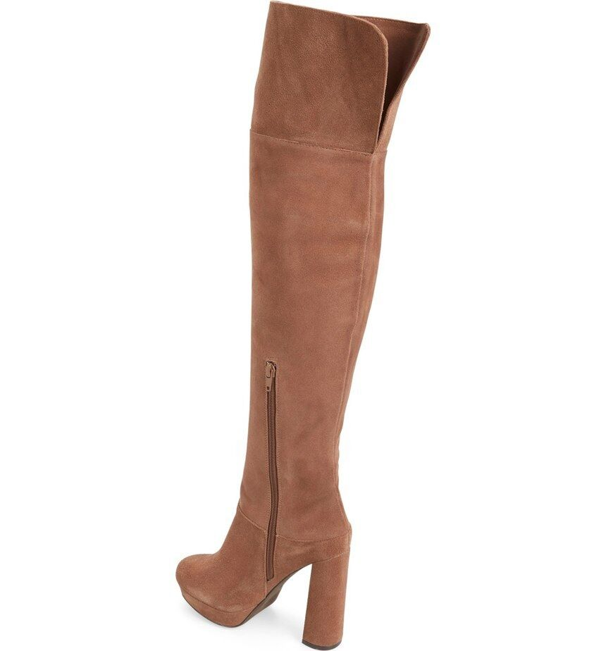 Jeffrey Campbell Destino Brown Suede Over the Knee Platform Boots SZ 7.5 NEW