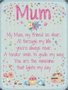 Details about MUM - MOTHER MAMMY SON DAUGHTER FRIEND VERSE POEM METAL  PLAQUE WALL SIGN 1232