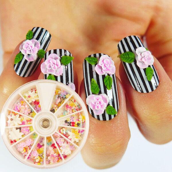 360pcs Mixed 3D Nail Art Rhinestones Glitter Pearls Bowknot Tips Wheel Decor