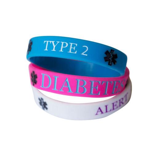 DIABETES TYPE 2 MEDICAL wristband silicone bracelet bangle AWARENESS ALLERGY