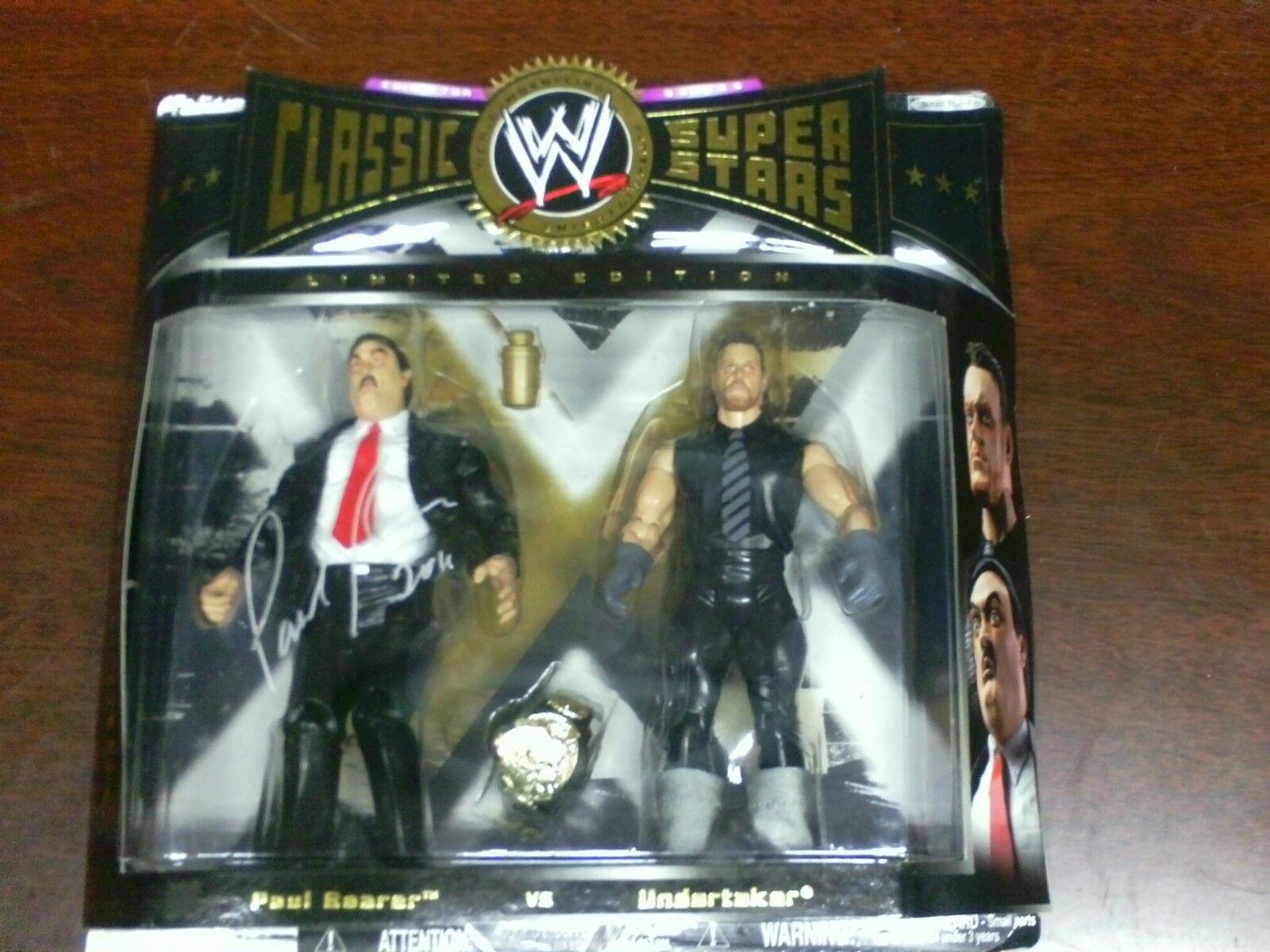 WWE CLASSIC SUPERSTARS UNDERTAKER VS PAUL BEARER AUTOGRAPH BY PAUL BEARER