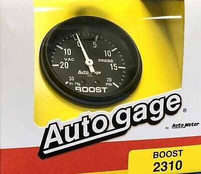 Auto Meter Autogage 2310 Mechanical Boost Pressure Vacuum Gauge Black 2 5//8/""