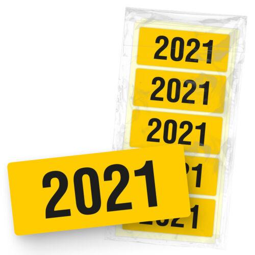 itenga 50x Etiketten Jahreszahl 2021 Gelb Aufkleber eckig selbstklebend 6x2,5cm