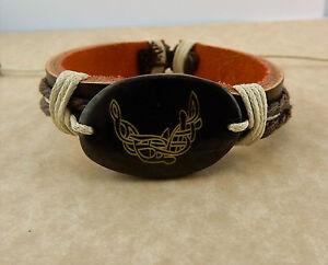 Adjustable Unisex Celtic Moon w/ Celtic Knot Leather bracelet